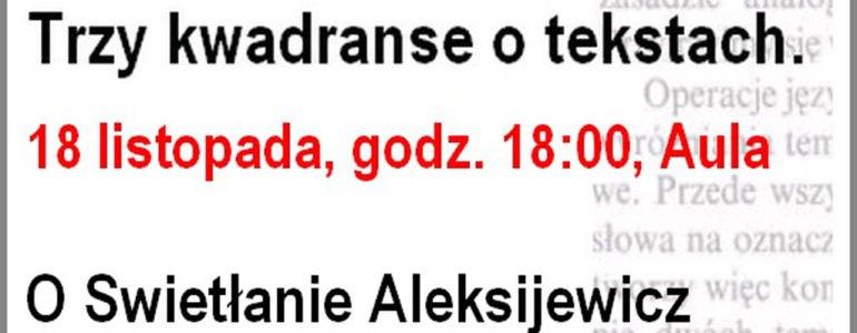 Demontaże Literatury o Swietłanie Aleksiejewicz