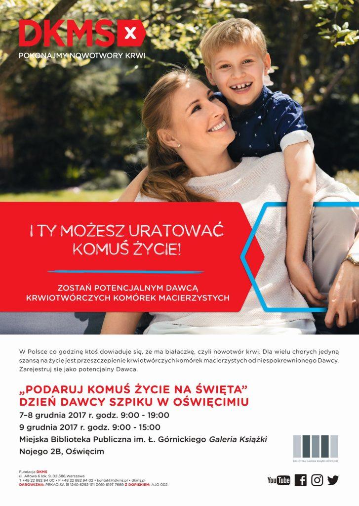 W dniach 7-9 grudnia czwarty raz Galeria Książki w Oświęcimiu organizuje Dni Dawcy Szpiku, podczas których można się zarejestrować jako dawca szpiku kostnego.