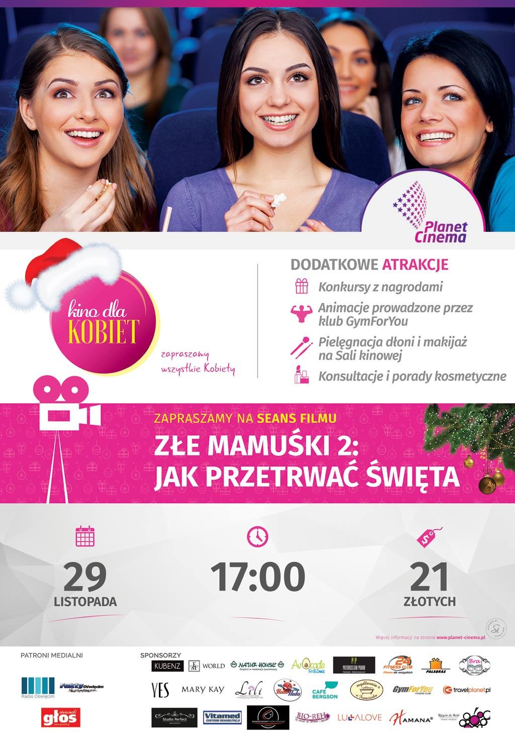 Dla naszych Czytelniczek mamy podwójne zaproszenie na Kino dla Kobiet, które odbędzie w Planet Cinema w Oświęcimiu.
