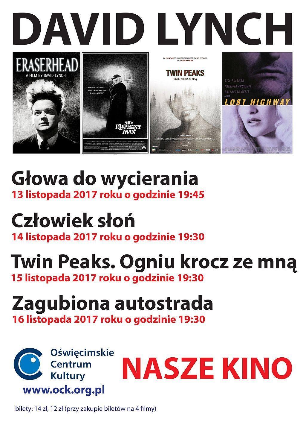 Nasze Kino Oświęcimskiego Centrum Kultury zaprasza od 13 do 16 listopada na seanse czterech filmów Davida Lyncha.