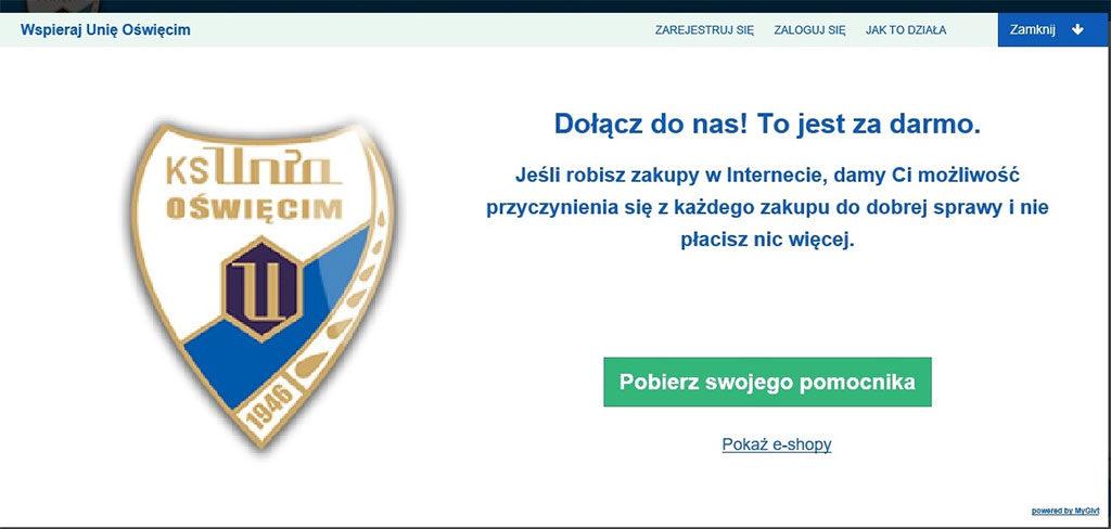 """Klub Sportowy Unia Oświęcim przyłączył się do projektu MyGivt. Na stronie unia-oswiecim.pl znajduje się pasek z napisem """"Wspieraj Unię Oświęcim""""."""