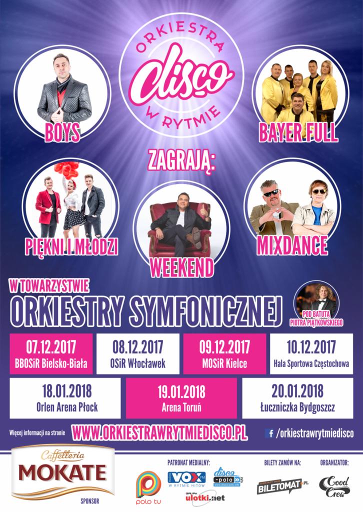 W czwartek 7 grudnia w Bielsku-Białej na jednej scenie wystąpią topowe gwiazdy Disco Polo w towarzystwie Orkiestry Symfonicznej pod batutą Piotra Piątkowskiego. Na scenie wystąpią Boys, Bayer Full, Piękni i Młodzi, Weekend, MixDance.