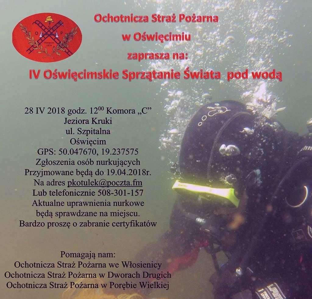 Ochotnicza Straż Pożarna w Oświęcimiu zaprasza na 4.Oświęcimskie sprzątanie świata pod wodą, które rozpoczną się w sobotę28 kwietnia o godzinie 12 przy jeziorze Kruki.