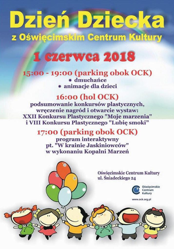 Oświęcimskie Centrum Kultury tradycyjnie zaprasza dzieci duże i małe oraz... dorosłe 1 czerwca 2018 roku na Dzień Dziecka z OCK.