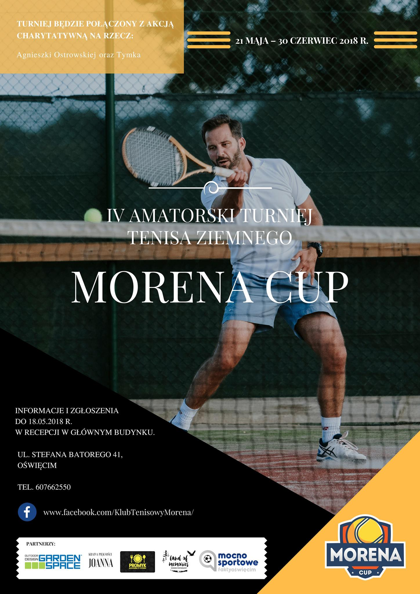 Klub tenisowy Morena w Oświęcimiu organizuje kolejny turniej Moren Cup. Udział w turnieju mogą wziąć kobiety i mężczyźni.