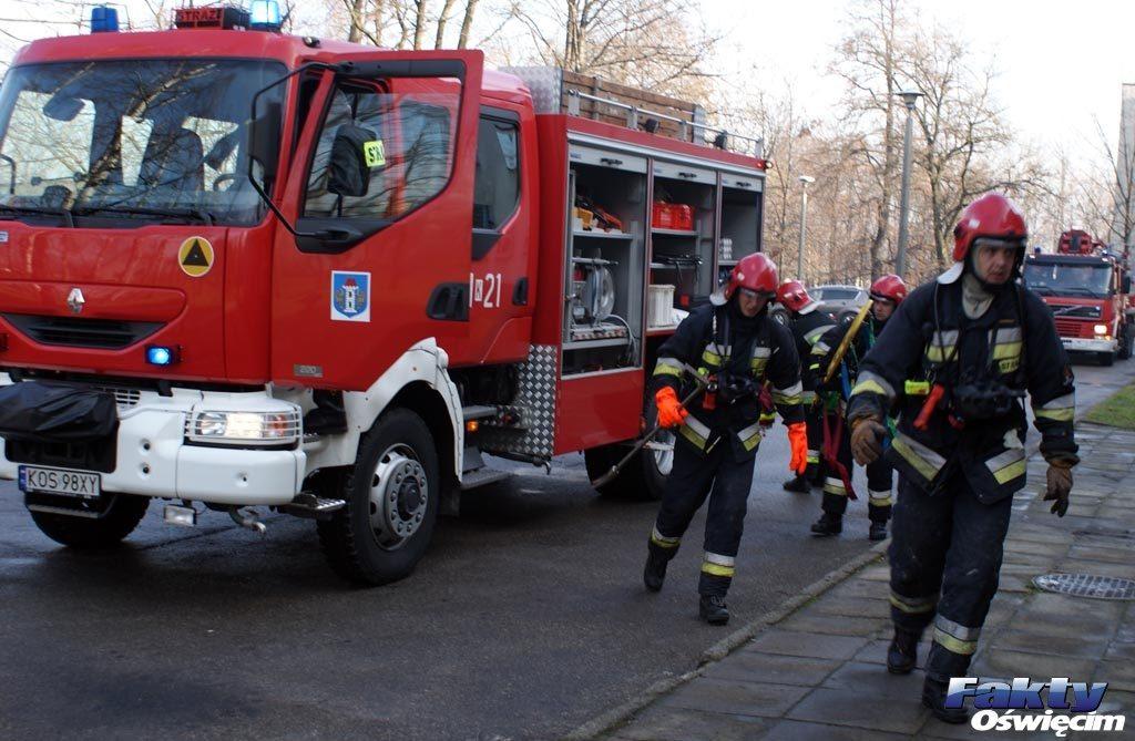Oświęcim, alarm, Niwa, straż pożarna, policja