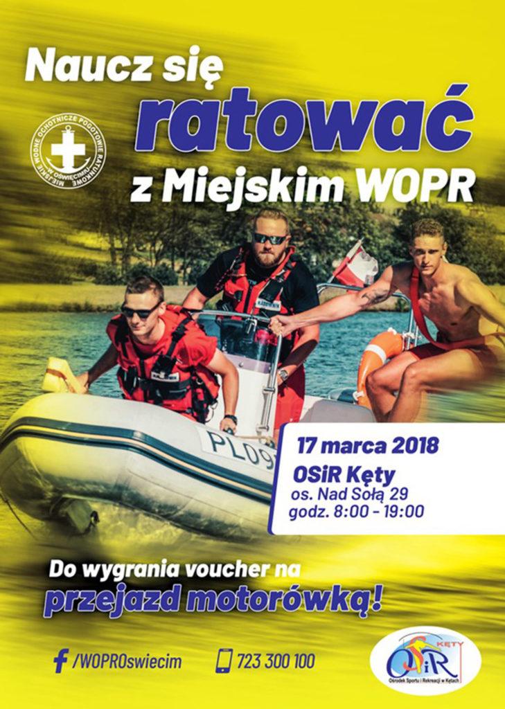 """W sobotę 17 marca w godzinach 8-19 na basenie w Kętach odbędą się warsztaty """"Naucz się ratować z Miejskim WOPR""""."""